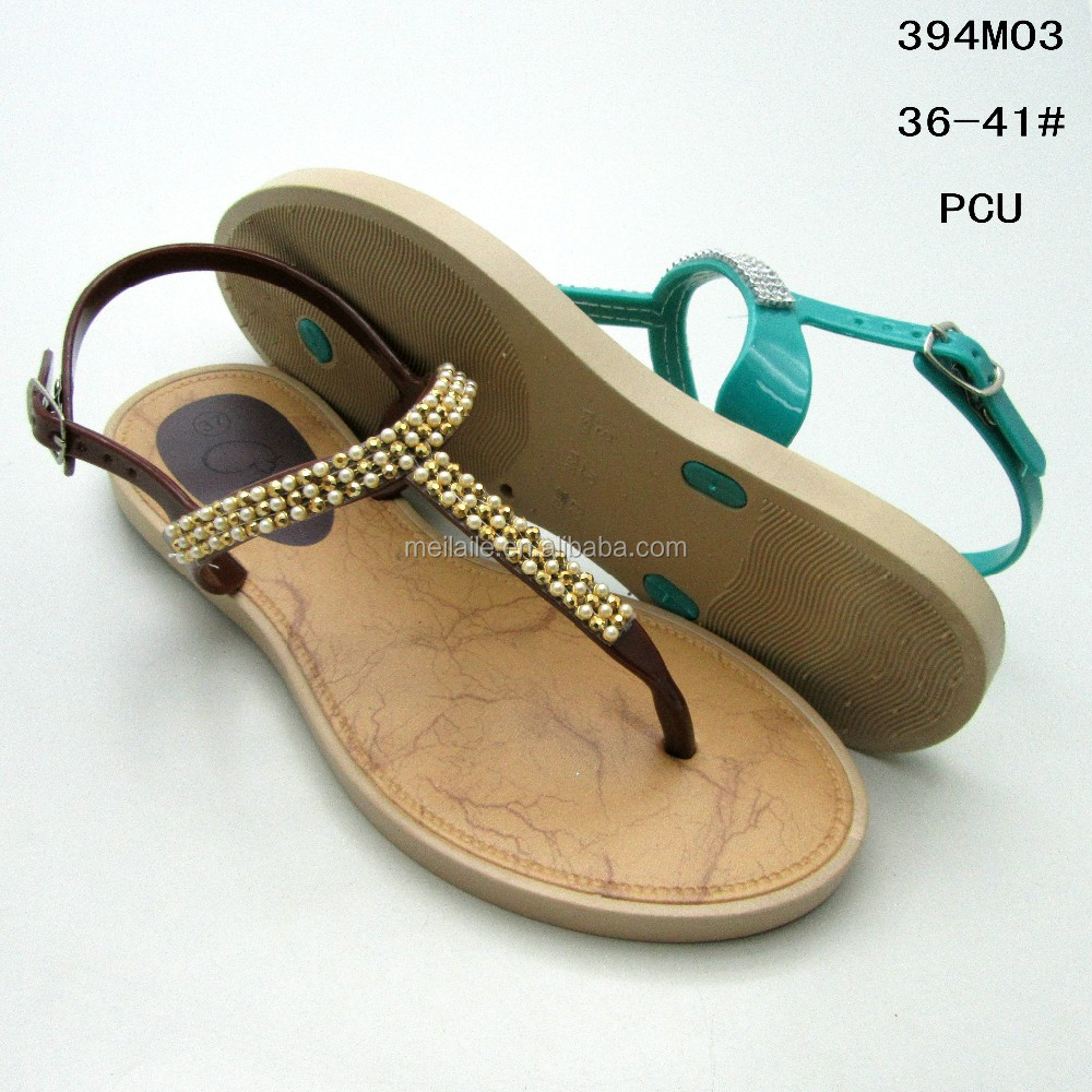 Pretty pearl decoration lace PCU female flat sandals