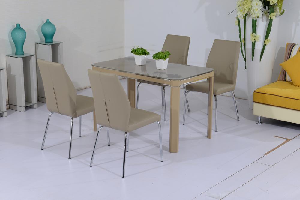 Patas de acero inoxidable mesa de moda color beige for Mesa de comedor de vidrio rectangular