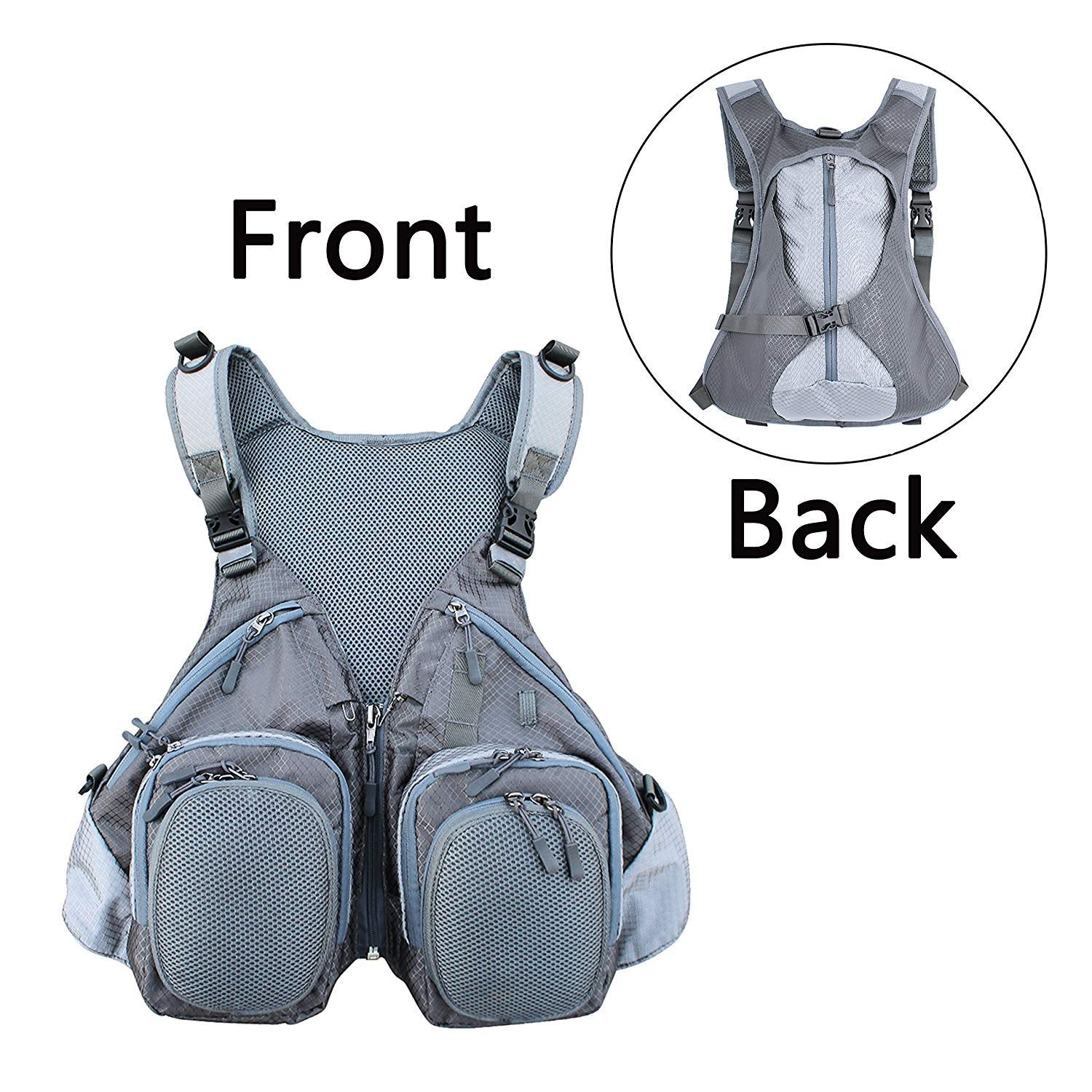 Fly Fishing Backpack & Vest Combo Fly Fishing Vest Pack Fishing Sling Pack With Hard Shell Storage for Tackle Gear and Accessories (Gray)