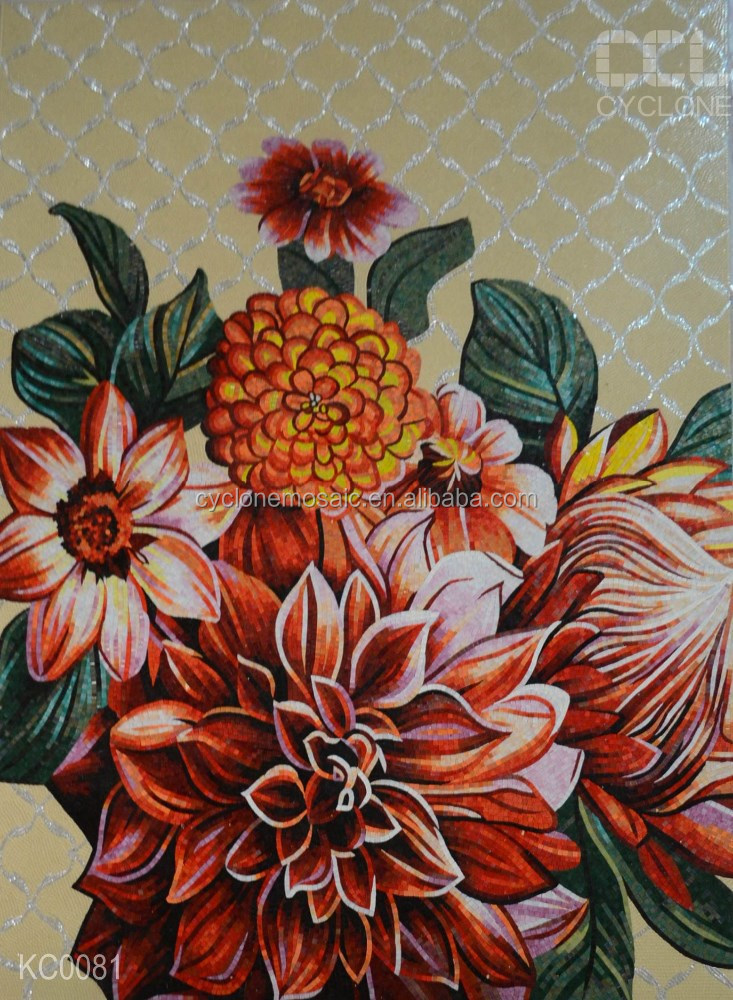 high end flower mosaic pattern, glass mosaic wall art mural