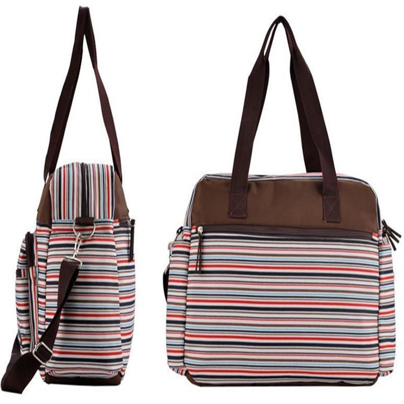 02fb906a3d70e Stripe 3PCS Baby Changing Diaper Nappy Mummy Bags Shoulder Bags Handbag  Large Quality Canvas Mama Bags