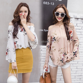 2018 High Quality Long Sleeve Blouse Ladies Beautiful Off-Shoulder Top Women Floral Tops