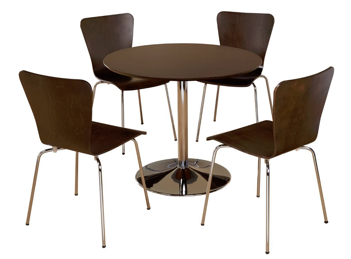 5 Piece Modern Dining Set With MDF Wood, Brown Finish and Chrome Base. Displays Elegant Contemporary Feel. Includes 1 Round Table 4 Stackable Chairs Perfect for Kitchen Small apartment, dorm or loft