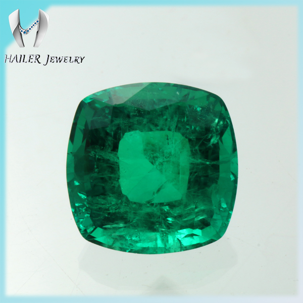 Cushion 10x10mm step cut lab created emerald buyers