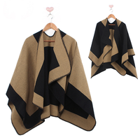 Winter Stock High Quality Pashmina Shawl Wraps Warm Design Women Knitted Winter Poncho