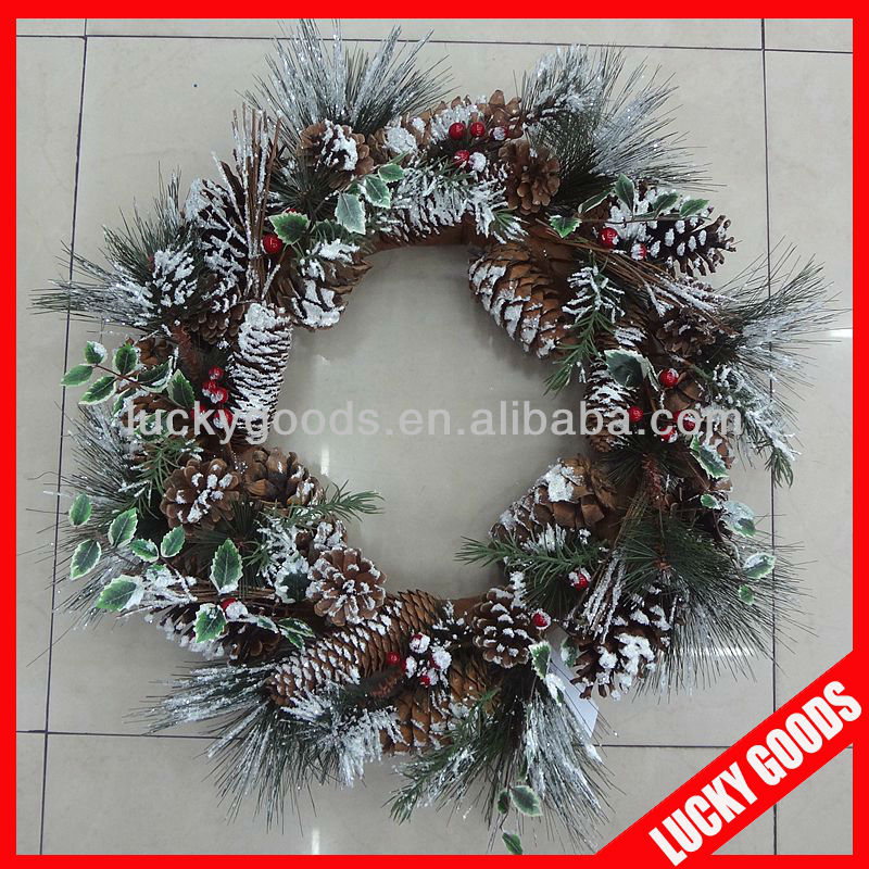 2013 promotional green christmas snowed wreath