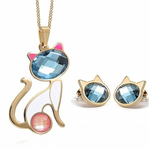 N1102697 New design woman cat pink & blue rhinestone golden pendant necklace and crystal ear stud