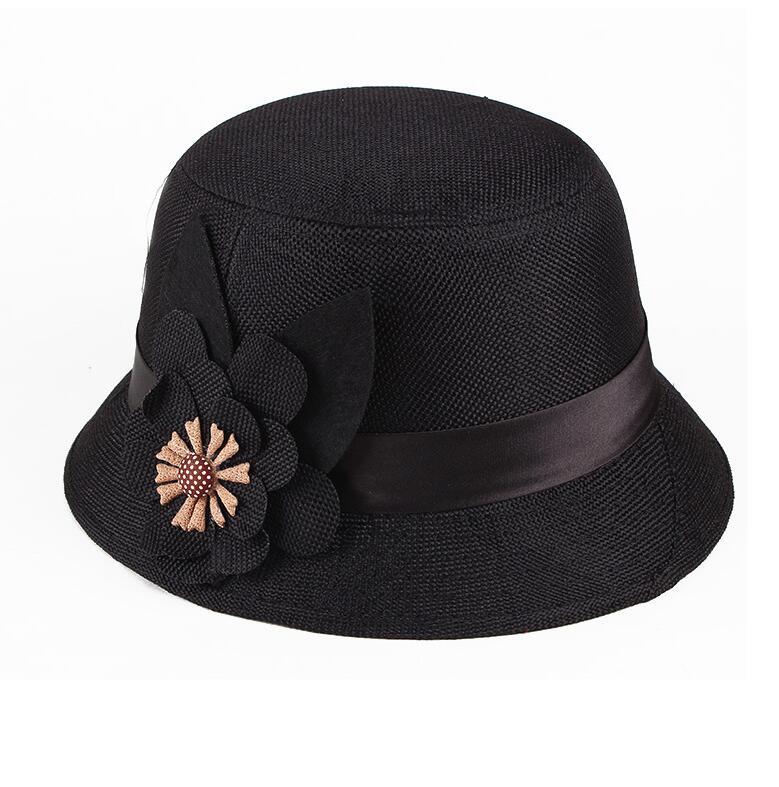 Bohemia Cap Womens Elegant Brim Summer Beach Flower Bowler Sun Hat Billycock Black