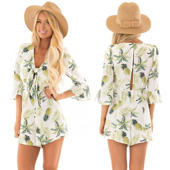 91c475221b7c Ladies pineapple print romper womens clothing casual one piece playsuit