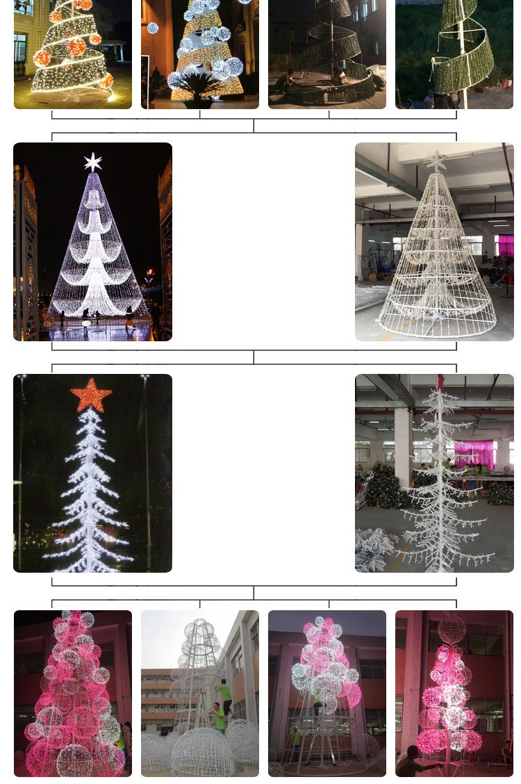 Red and white spiral rope light christmas tree with led lights IP44