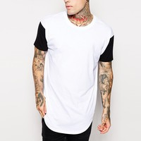 off the shoulder t-shirt wholesale two tone 70% polyester 30% cotton t-shirt black and white oversize t shirt