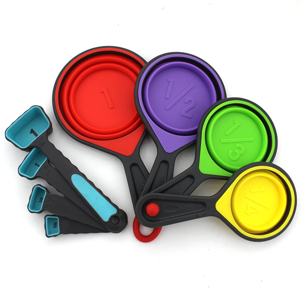 8 Piece Collapsible Silicone Measuring <strong>Cups</strong> And Measuring Spoons set