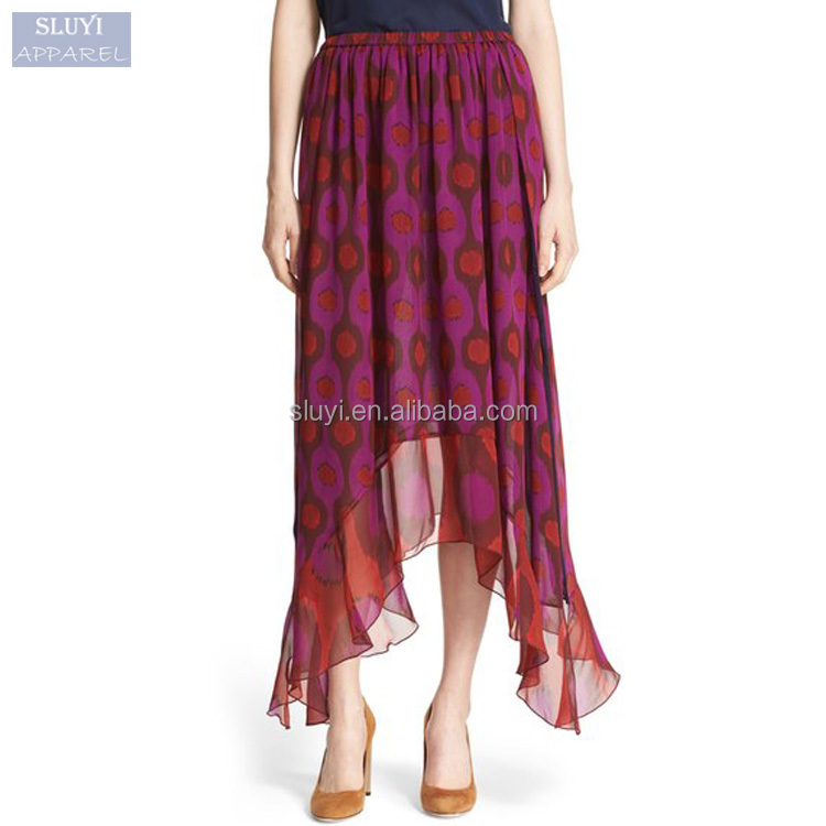 latest long skirt design retro print Silk Maxi indian pictures of long skirts