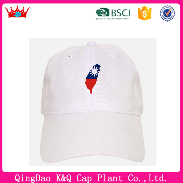 OEM classic high quality unique white taiwan map baseball hats