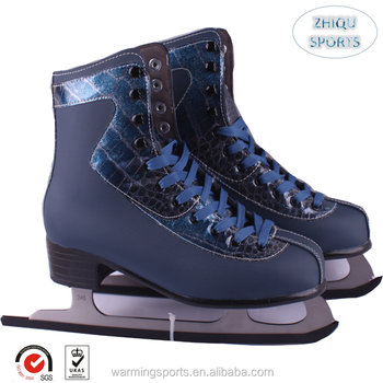 New upscale quality fashion deep blue ice figure skates shoes for men and boys PVC leather, stainless blades
