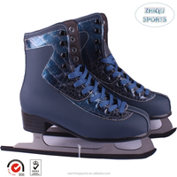 Newest design upscale quality fashion deep blue ice figure skates shoes for men and boys PVC leather, stainless blades