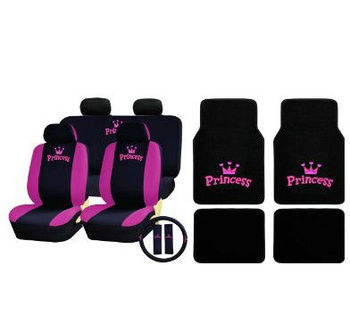 Universal Pink Princess Full Set With Floor Mats Car Seat Covers