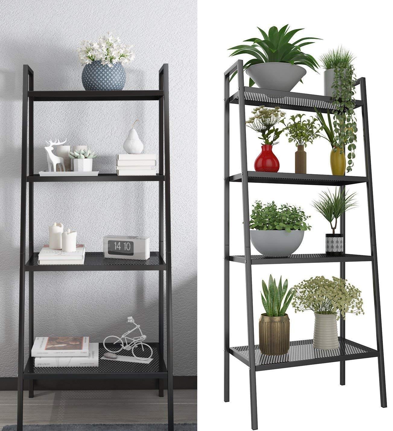 4 Tier Metal Ladder Bookshelf, Bookcase Plant Flower Stand Display Shelf Unit Storage Rack for Kitchen Living Room Bathroom Balcony Office (Ladder Shelf-4 Tier-Black)