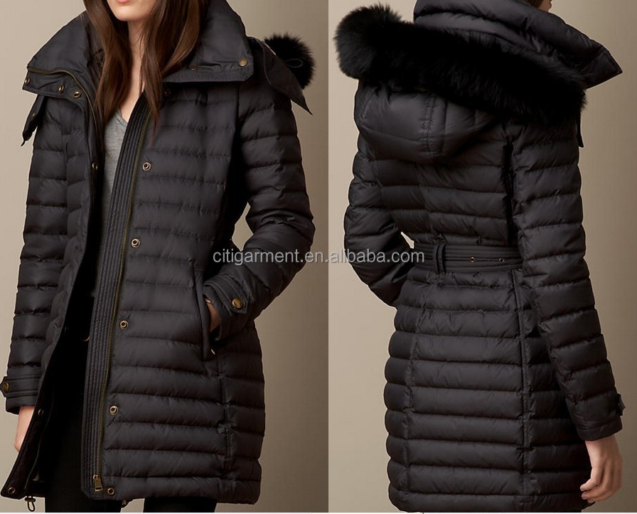 Women Fur Trim Dark Down-filled Puffer Coat With Hood - Buy Women ...