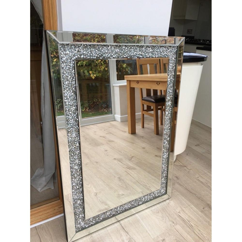 Large rectangle crushed diamond frame home art deco wall mirror