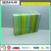 The latest design China factory custom colorful stripes recyclable feature PVC clear plastic professional kit makeup storage box