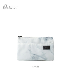 Wholesale custom small makeup bag recycle material RPET marble pouch with PU label