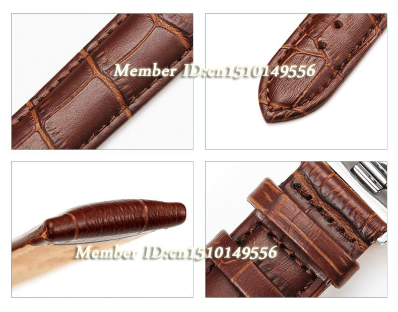 Новые прибытия дизайн прочный ремень из натуральной кожи бабочка раскладывающаяся часы 16 мм 18 мм 19 мм 20 мм 21 мм 22 мм 24 мм черный / коричневый