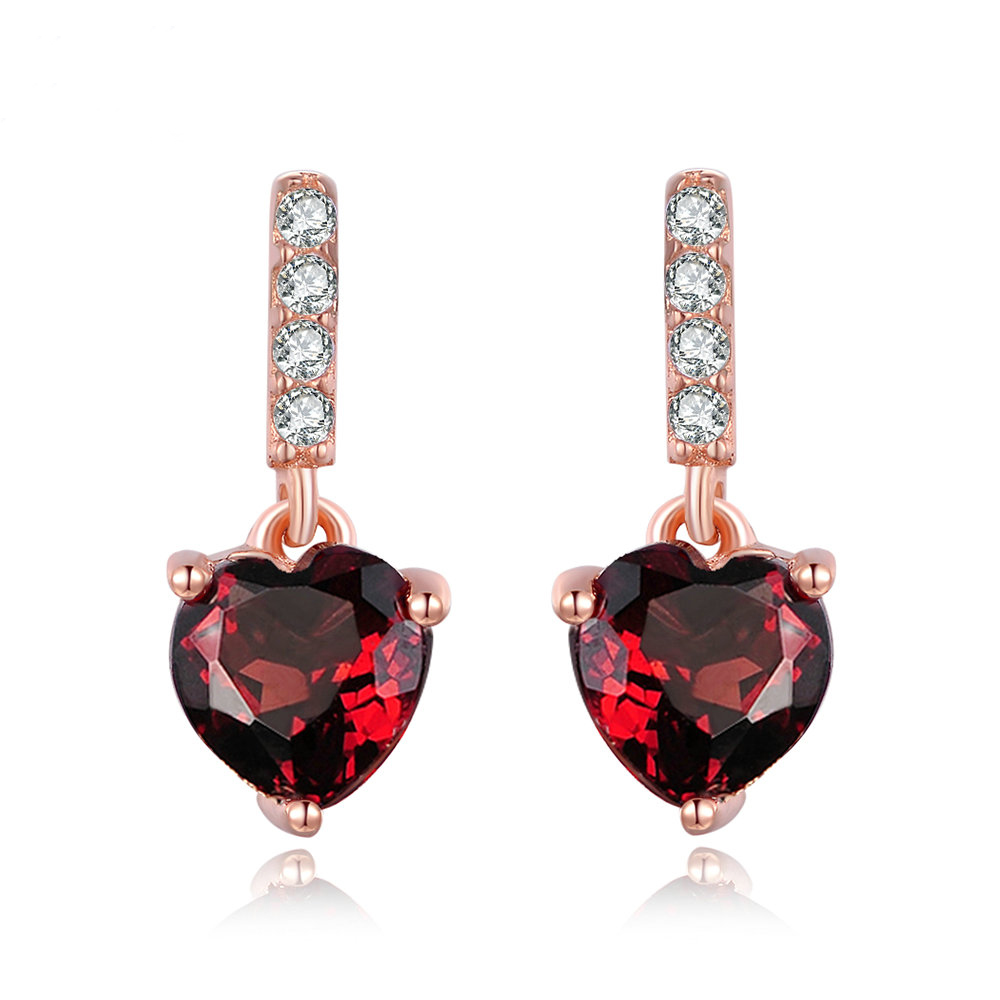 OB Jewelry-Trendy 0.6ct Heart Shaped Jewelry Natural Red Garnet Stud Earrings 925 Sterling Silver Fine Jewelry Manufacturers