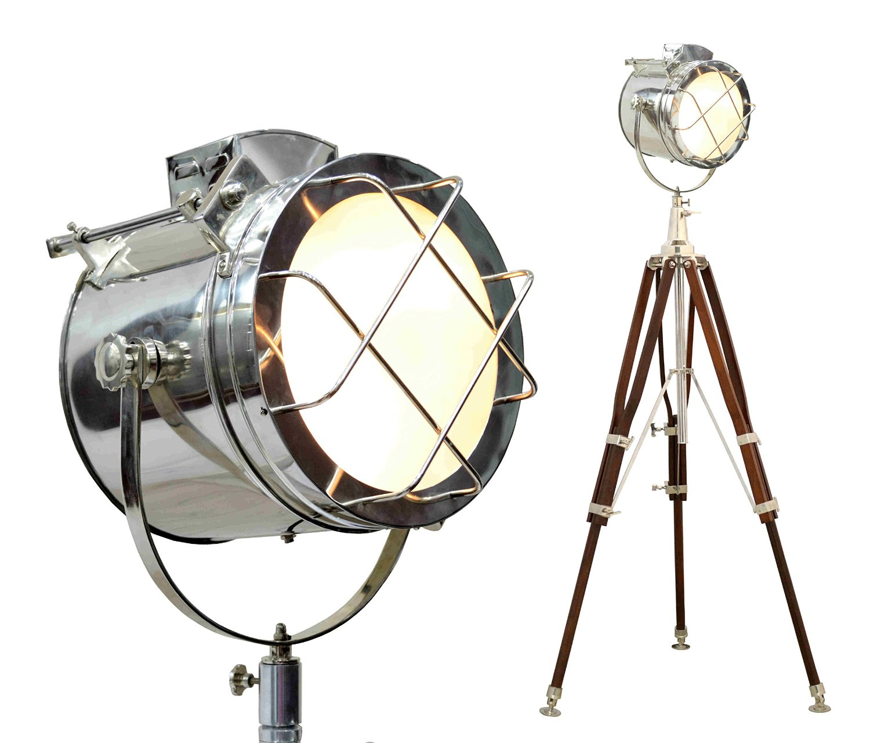 Brass Nautical Vintage Marine Tripod Floor Lamp Search light Cinema Studio Floor Prop Tripod