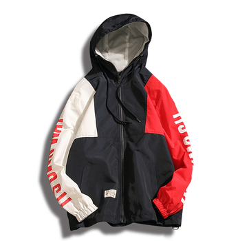 db1d25ce7033d LJ04 Summer stitching hooded jacket men s sports jacket breathable  sunscreen Korean personality coat tide men s clothing