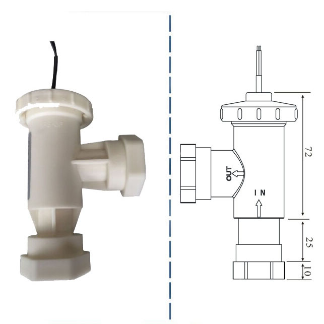 Electronic water magnetic flow switch vertical installation for swimming pool