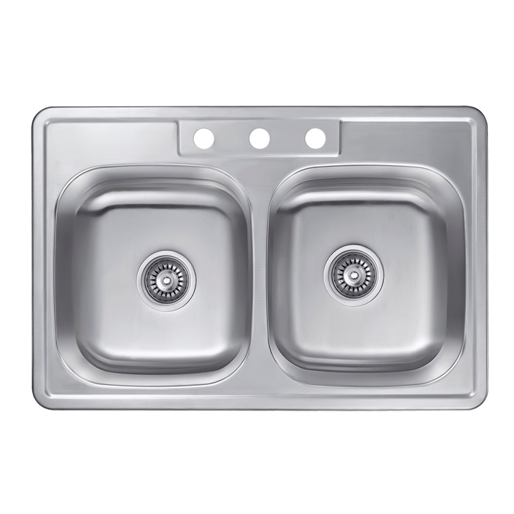 New Design Modern Style 304 Stainless Steel Double Bowl Square Kitchen Undermount Sink