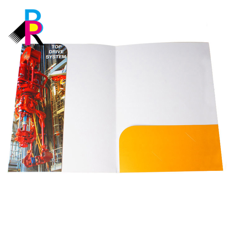 Wholesale Factory Top quality Paper Folder  Glossy Laminated Color Design commercial A3 A4 A5 Folder printing With pockets