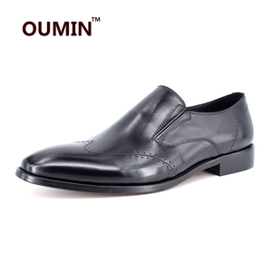 England style genuine leather Oxford pure black men dress shoes
