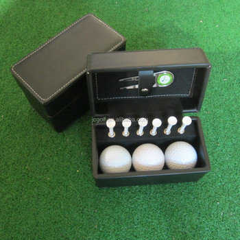 Classic leather Box golf ball and tee golf gift set
