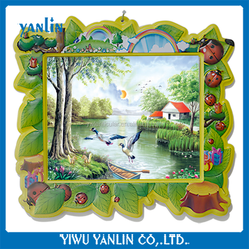 3d beautiful scenery pictures with plastic cartoon frames for kids