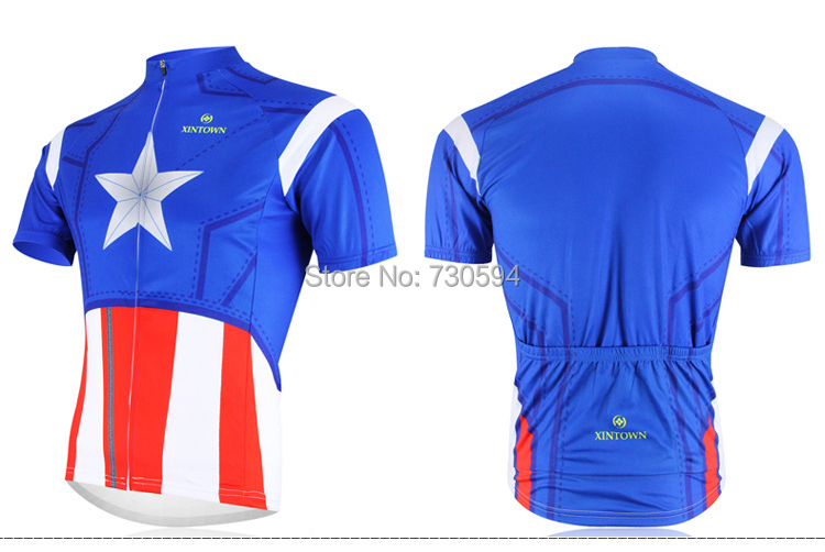 d2de5c286 Get Quotations · Reflect UV Captain America Cycling clothing Cycling wear  Cycling jersey short sleeve Bib Shorts Suite Breathable