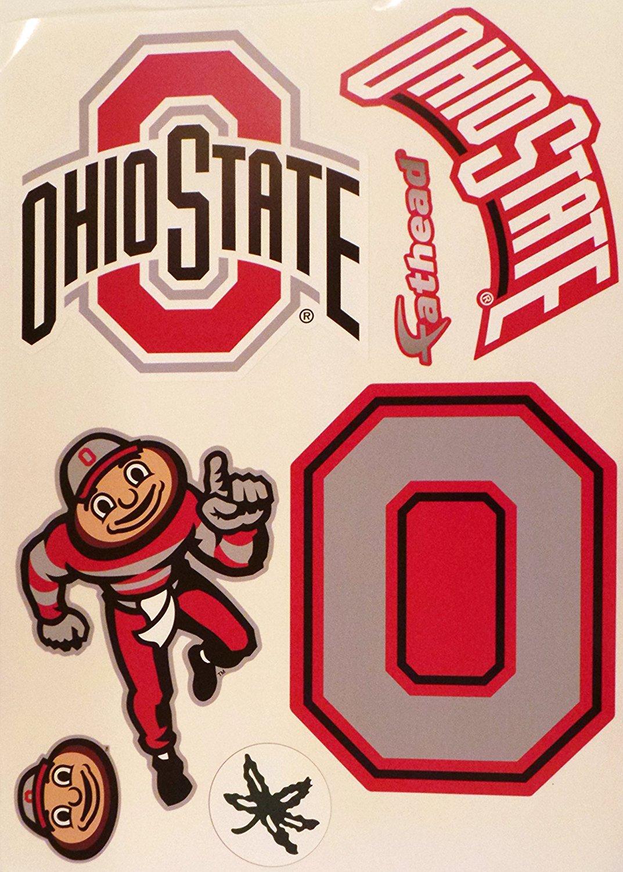 "Ohio State Buckeyes FATHEAD Set of 6 Team Logo Mascot NCAA Vinyl Wall Graphics 17"" SHEET"