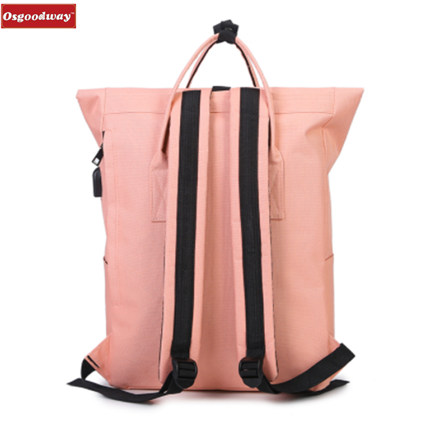 Osgoodway New 2018 Women Girls Backpack USB Charging Nylon School Bags Backpack For Teenagers