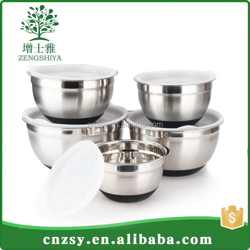 Hot Sales Eco-Friendly Non-Slip Mixing Silicon Stainless Steel Salad Bowl