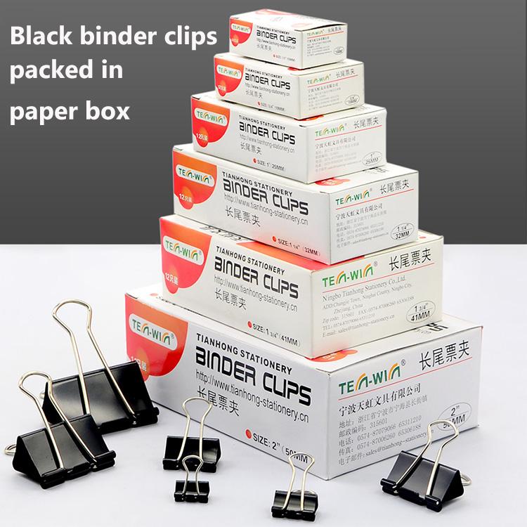 Maat 15,19,25,32,41,51 Mm Doos Verpakt Multifunctionele Lange Black Metal Bindmiddel Clips