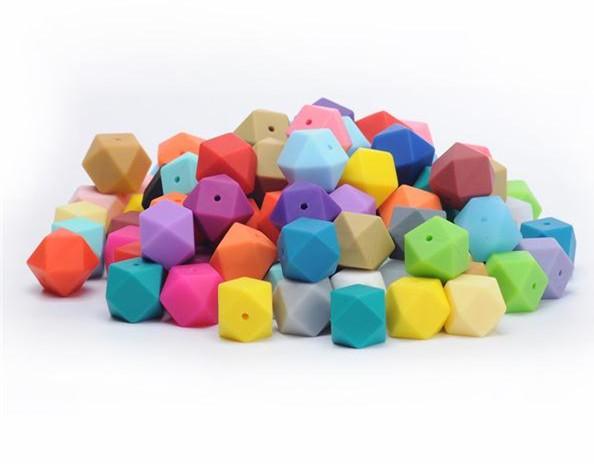 Силиконовые бусины-шестиугольники для прорезывания зубов