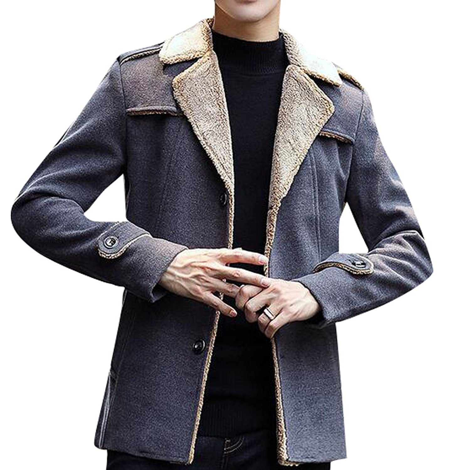 ARTFFEL Men Faux Suede Warm Winter Thicken Lamb Wool Lined Quilted Jacket Coat Outerwear