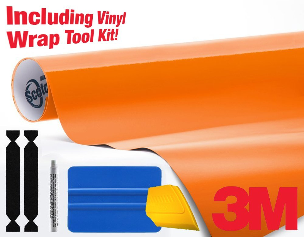 3M 1080 Gloss Bright Orange Air-Release Vinyl Wrap Roll Including Toolkit (1ft x 5ft)