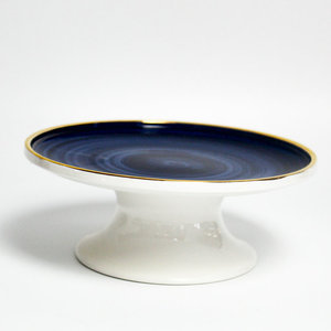Wholesale flat blue color swirl golden rim round cake stand for wedding cake