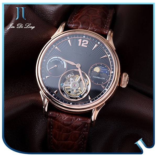 Automatic mechanical watch top Quality Leather Business Men Watch Tourbillon Watch Eternal Genuine
