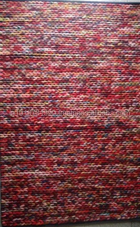 Hand Woven Felt Wool Braid Rug