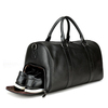 fashion business men cowhide leather duffle bag weekend travel gym luggage bag with independent shoes compartment