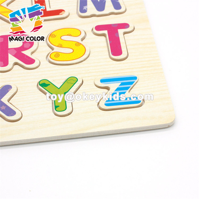 Wholesale intelligent wooden alphabet letters puzzle toy for kids english learning W14B085