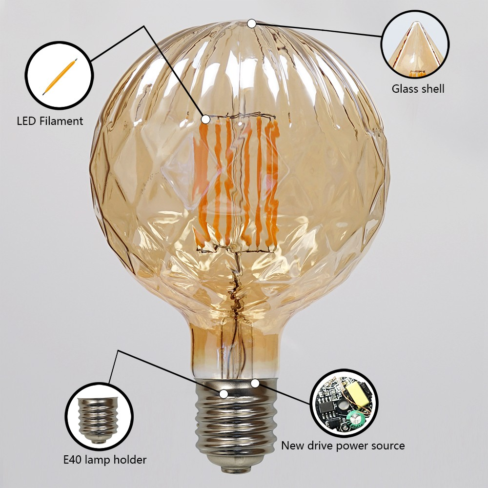 Global Amber Vintage Retro Dimmable G150 Dimmable Led Bulbs 8w E40 ...